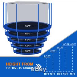 10-16FT Outdoor Trampoline with Intra Enclosure Net Frame Cover Ladder C10-C16