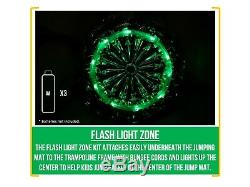 10-Foot Trampoline, with Classic Enclosure and Flash Light Zone, Green/Black