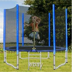 10FT Kids Round Trampoline with Safety Enclosure Net & Ladder Combo Jumping Mat
