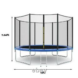 10FT Kids Trampoline With Enclosure Net Jumping Mat And Spring Cover Padding