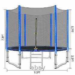 10FT Round Trampoline with Safety Net Enclosure Kids Bounce Jumping Spring Pad