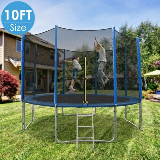10ft Trampoline Set With Safety Enclosure Net Ladder And Umping Spring Mat Combo