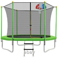 10FT Trampoline with Safety Enclosure Net Basketball Hoop for Kids and Adults