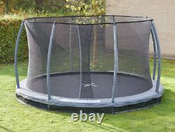 10FT black in ground trampoline with safety enclosure new 2021 model