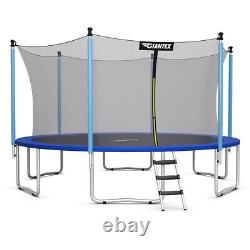 12 FT Trampoline Combo Bounce Jump Safety Enclosure Net With Spring Pad Ladder