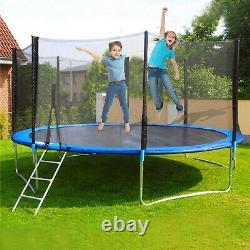 12' Trampolines Round Outdoor with Enclosure With Spring Pad Ladder Toy Backyard
