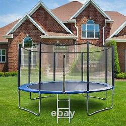 12FT Kids Bounce Jumping Round Trampoline Exercise With Safety Pad Enclosure Combo