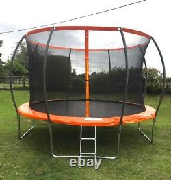 12FT Pumpkin Trampoline with internal safety net enclosure ladder and rain cover