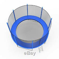 12FT Trampoline Combo Bounce Jump Safety Enclosure Net WithSpring Pad Ladder Blue