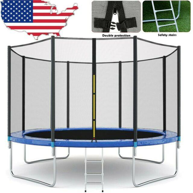 12ft Trampoline With Safety Enclosure Net, Spring Pad And Ladder, 600 Lb Load