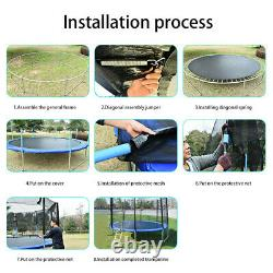12Ft Kids Trampoline With Enclosure Net Jumping Mat And Spring Cover Padding