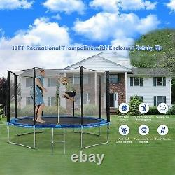 12Ft Kids Trampoline With Enclosure Net Jumping Mat And Spring Cover Padding NY