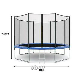12ft Kids Child Trampoline WithEnclosure Net Jumping Mat & Spring Cover Pad 600LB