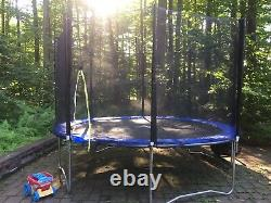 12ft Round Trampoline with Enclosure (safety Net) Blue