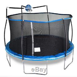 14' Bounce Pro TRAMPOLINE with Enclosure Net and Slama Jama Basketball System