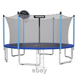 14 FT Trampoline Combo Bounce Jump Safety Enclosure Net WithBasketball Hoop Ladder