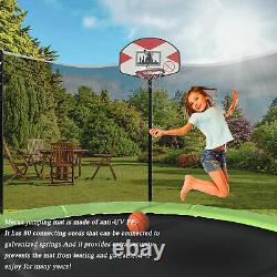 14-Feet Trampoline for Kids with Safety Enclosure, Basketball Hoop and Ladder