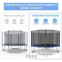 14FT Trampoline with Safety Enclosure Net, Spring Pad and Ladder, 330LBS Load