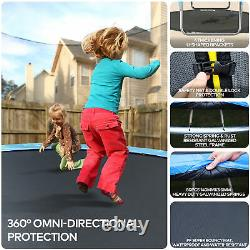 14ft Trampoline Set with Safety Enclosure and Ladder 331lbs Capacity for Kids