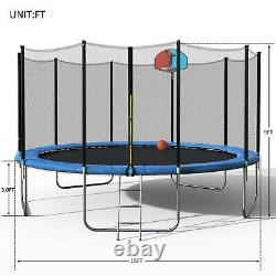 15 FT Round Trampoline with Safety Enclosure, Basketball Hoop and Ladder