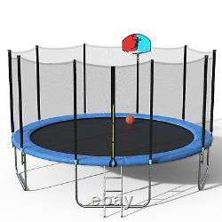 15' round Trampoline with Safety Enclosure, Basketball Hoop and Ladder
