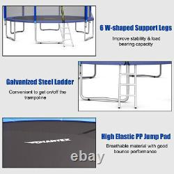 15FT Trampoline Combo Bounce Jump Safety Enclosure Net With Basketball Hoop Ladder