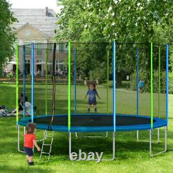 16FT Trampoline for Kids with Safety Enclosure Net Ladder and 12 Wind Stakes