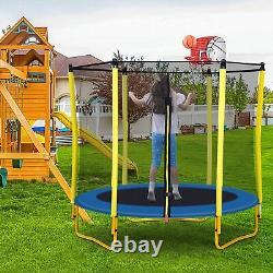 5.5FT Trampoline for Kids with Enclosure Net Basketball Hoop Birthday Gifts