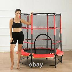 55In Kids Trampoline With Enclosure Net Jumping Mat And Spring Cover Padding