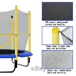 60 Round Children Trampoline with Safety Net Enclosure Fitness Toy Yellow