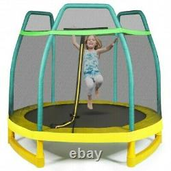 7FT Kids Trampoline With Safety Enclosure Net-Green
