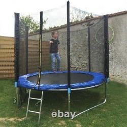8 FT Outdoor Round Trampoline with Safety Enclosure Basketball Hoop & Ladde