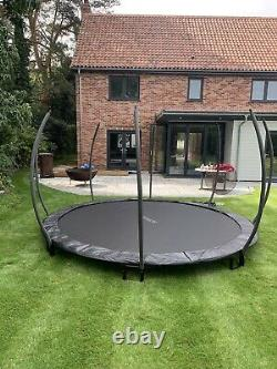 8FT black in ground trampoline with safety enclosure new 2021 model uk stock