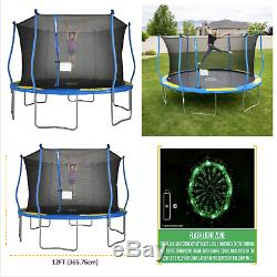 Bounce Pro 12-Foot Trampoline, with Classic Enclosure and Flash Light Zone, Blu