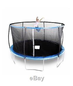 Bounce Pro 14-Foot Trampoline, with Safety Enclosure Net n Flash Light Zone Blue