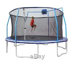 Bounce Pro 15-Foot Trampoline, with Enclosure and Basketball Hoop, Blue