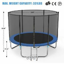 Famistar 10FT Trampoline with Safety Enclosure Net, 331lbs Capacity for Kids