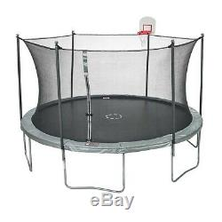 JumpZone 15ft Trampoline Round with Enclosure and DunkZone Basketball Hoop
