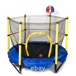 Kids Mini Trampoline with Safety Enclosure Net and Spring Pad Outdoor Indoor USA