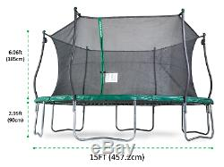Large Trampoline With Safety Enclosure 15 Ft & Electron Shooter Game Outdoor NEW