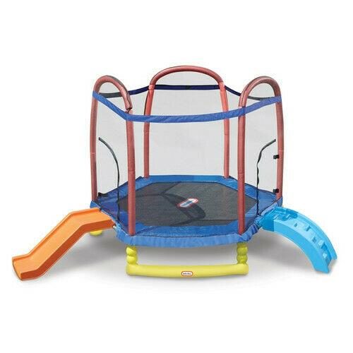 Little Tikes Climb'n Slide 7-foot Trampoline, With Enclosure, Blue