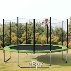 Merax 14FT Round Trampoline with Safety Enclosure, Basketball Hoop and Ladder