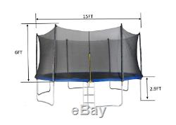 Merax 15FT Round Outdoor Trampoline with Enclosure With 96PCS Spring Pad Ladder