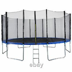 New 16FT Trampoline Combo Bounce Jump Safety Enclosure Net WithSpring Pad Ladder