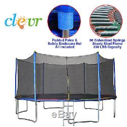 New Clevr 15' Trampoline with Enclosure Bounce Jump Safety Spring Pad Round 15ft