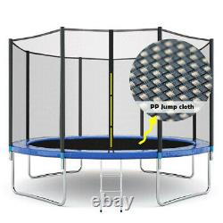 New12FT Kids Trampoline With Enclosure Net Jumping Mat And Spring Cover Padding