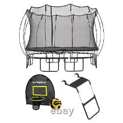 Springfree Outdoor Square 13 Foot Trampoline, Enclosure, Hoop Game, and Ladder