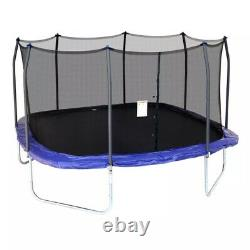 Square Trampoline 15' Skywalker Outdoor Playground with Safety Enclosure Blue New
