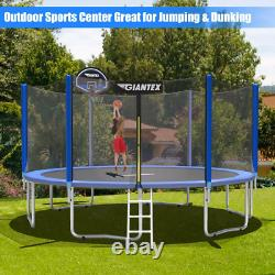 Trampoline Combo Bounce Jump Safety Enclosure Net With Basketball Hoop Multi Size