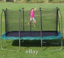 Trampoline with Enclosure 14' Rectangular Green Jump Rectangle Outdoor Family